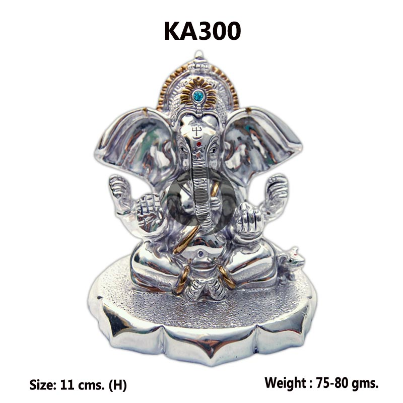 GANESH WITH SILVER BASE 80